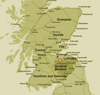Map of Scotland showing Heriot's location