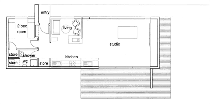 An architects plan drawing of the studio from above